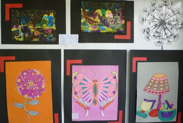 美术皱纹纸粘贴画图片-艺术系周纯老师指导学生举办美术作业展